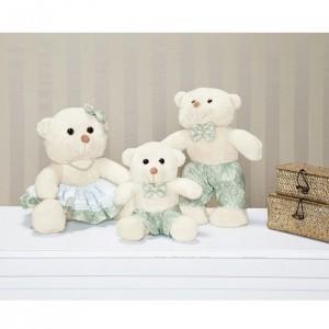 Urso Família Decorativo Linha Requinte Coleção Amore Verde