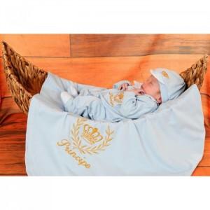 Saída de Maternidade Príncipe Luxo Azul Bebê c/ Manta